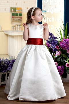 A-line Round-neck Tea-Length Flower Girl Dress style