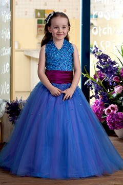 Lovely Ball Gown Halter Floor-length Sequins Flower Girl Dress