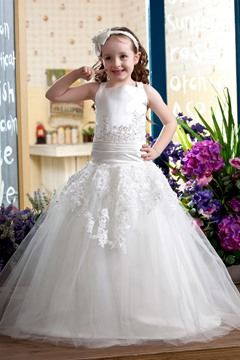 Elegant Ball Gown Straps Flower Girl Dress