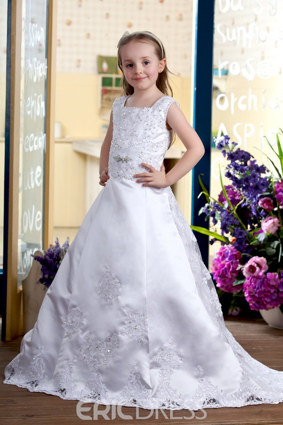 A-line Square Brush Train Satin Flower girls Dress style