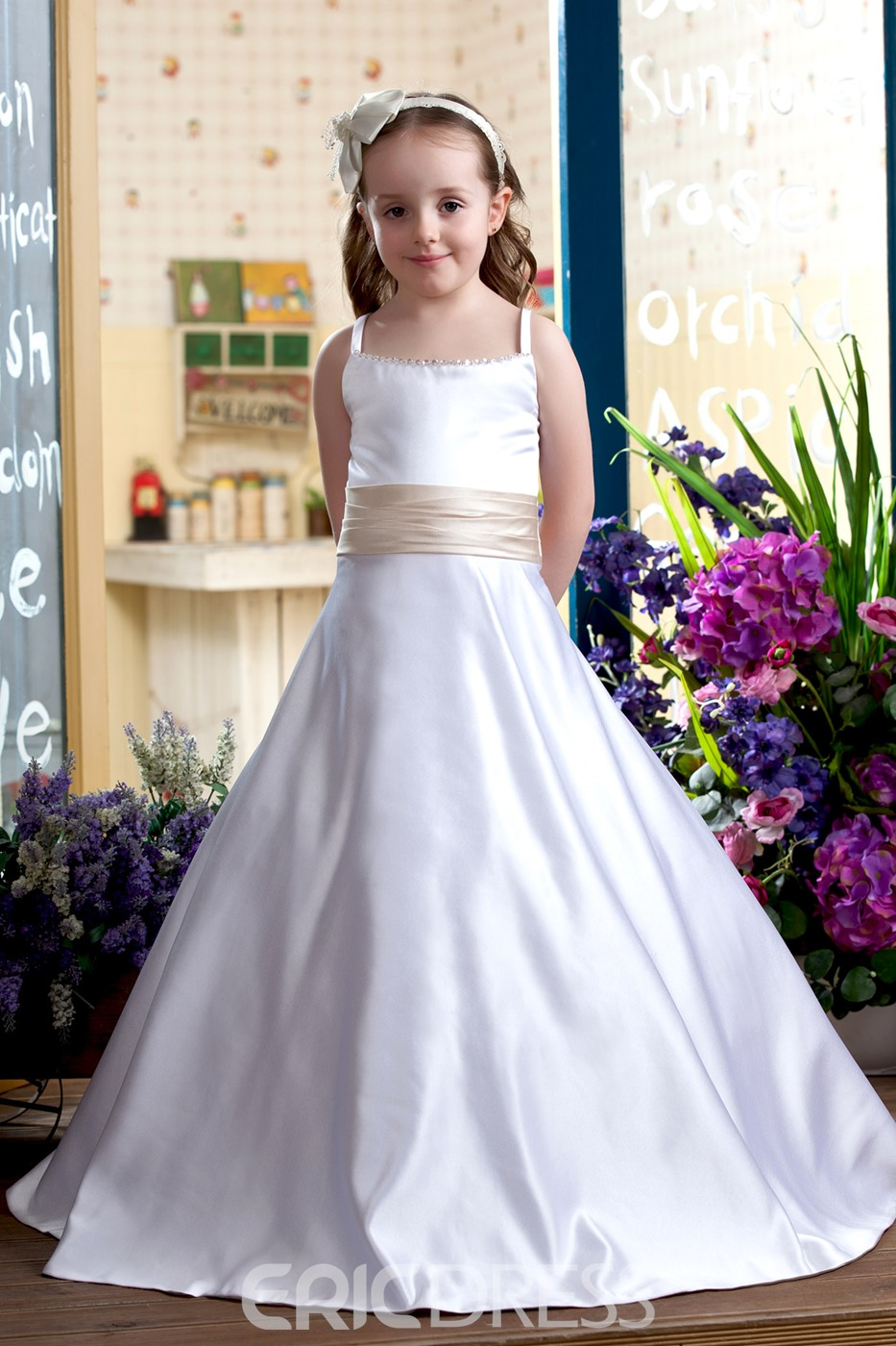 A-Line Spaghetti Straps Floor-Length Flower Girls Dress