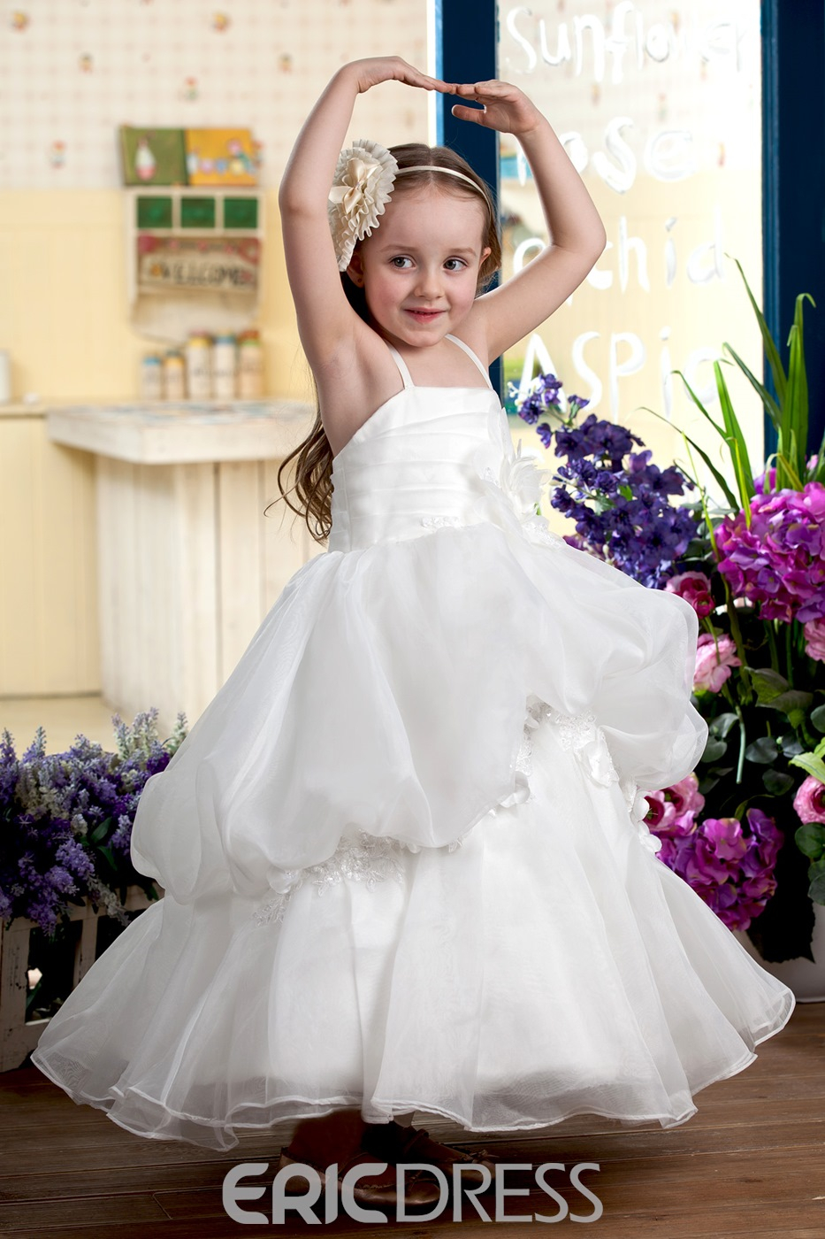 Attractive Empire Straps Sleeveless Tea-length Ruched &Tiered Flower Girl Dress