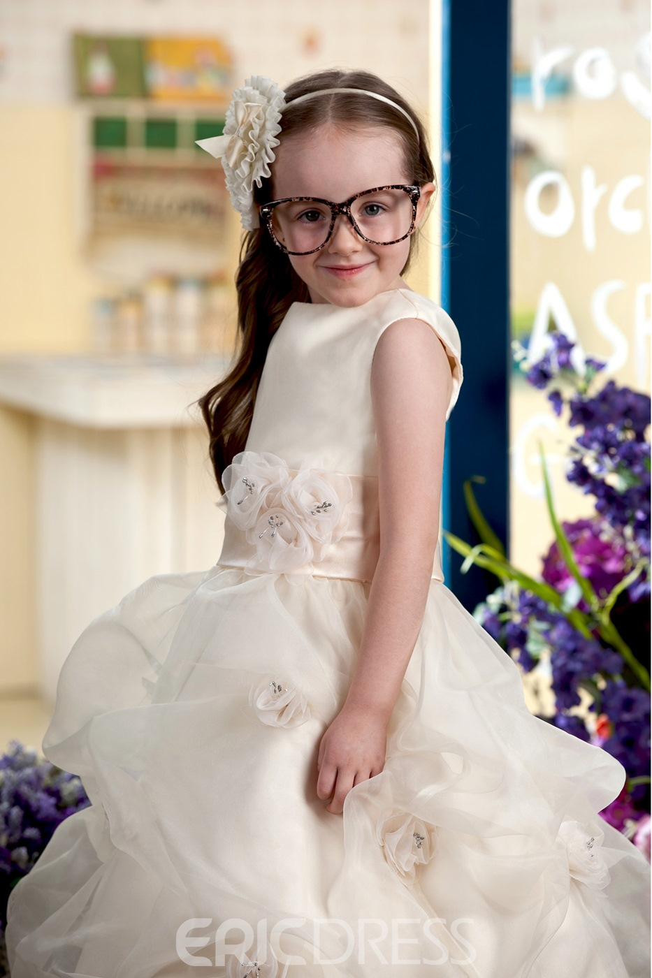 Pretty Ball Gown Bateau Tiered Ankle-length Flowers Embellishing Flower Girl Dress
