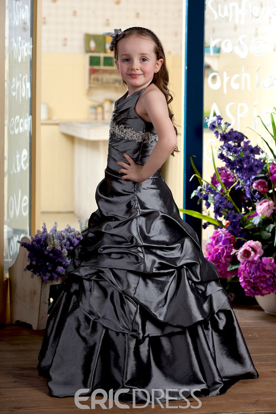 Charming Floor-length A-line Halter Ruched Flower Girl Dress