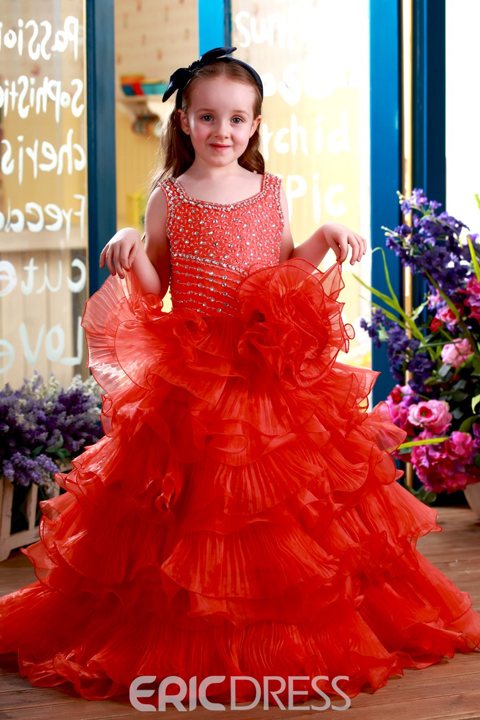Vogue A-Line Floor-Length Straps Beaded Ruched Flower Girl Dress