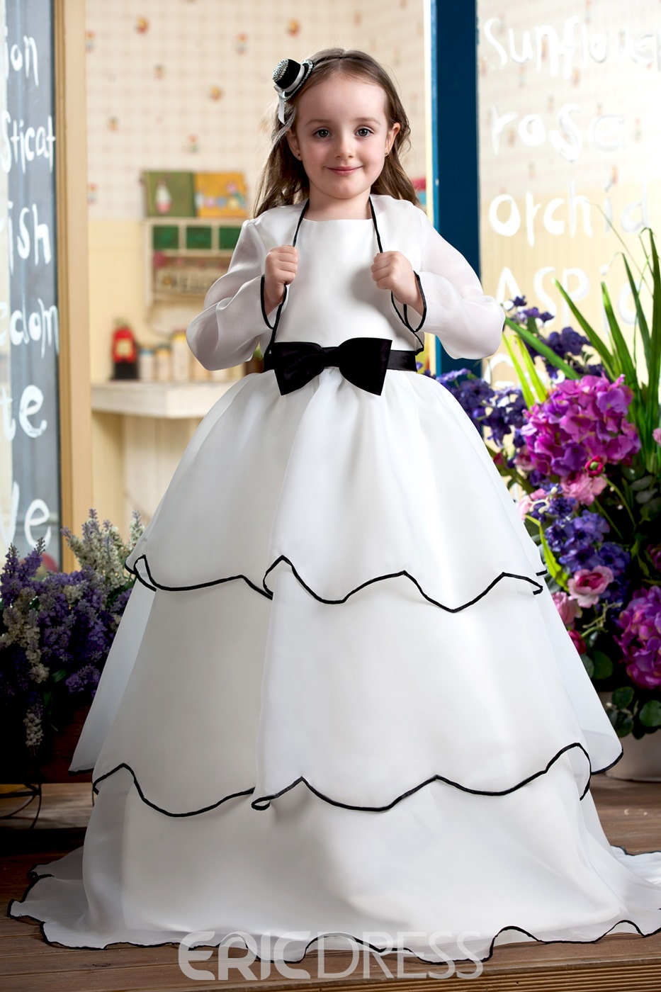Classy A-Line Sash and Bow Floor Length Flower Girl Dress With Jacket/Shawl