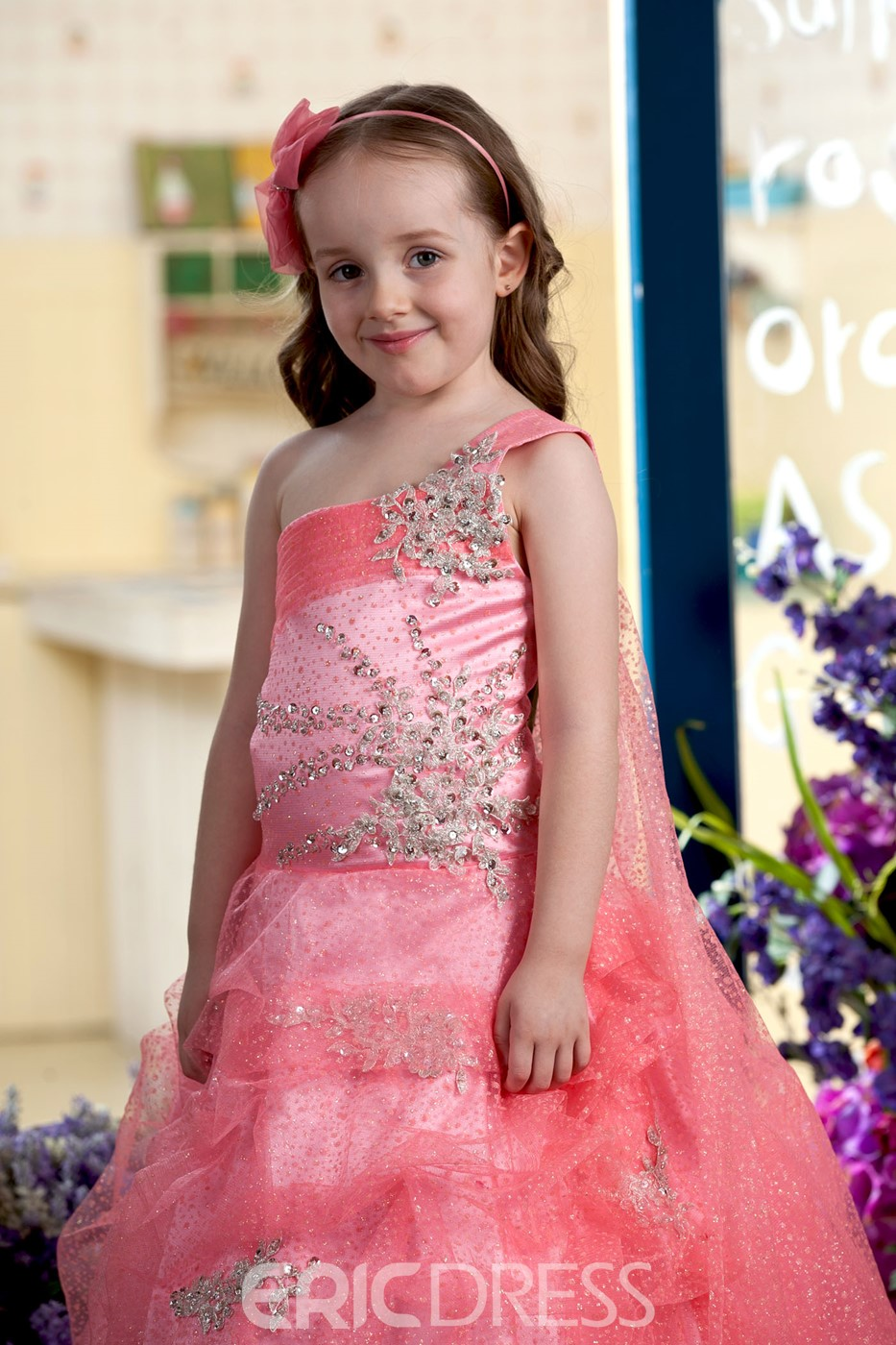 Cute Ball Gown One-Shoulder Floor-length Pleats Flower Girl Dress