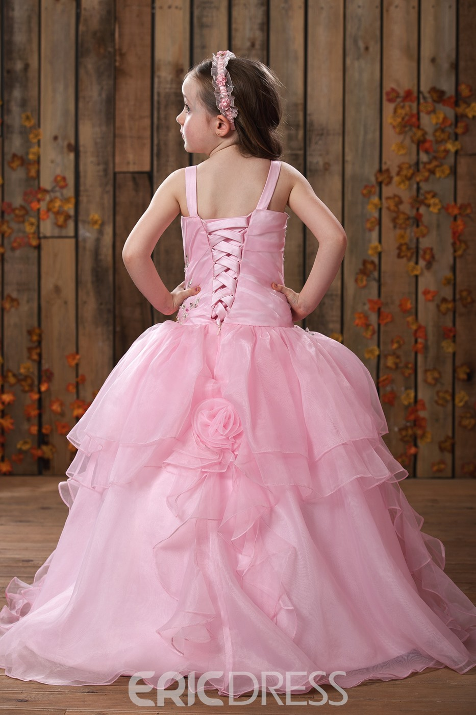 Cute Ball Gown Floor-length Ruffling Straps Flower Girl Dress