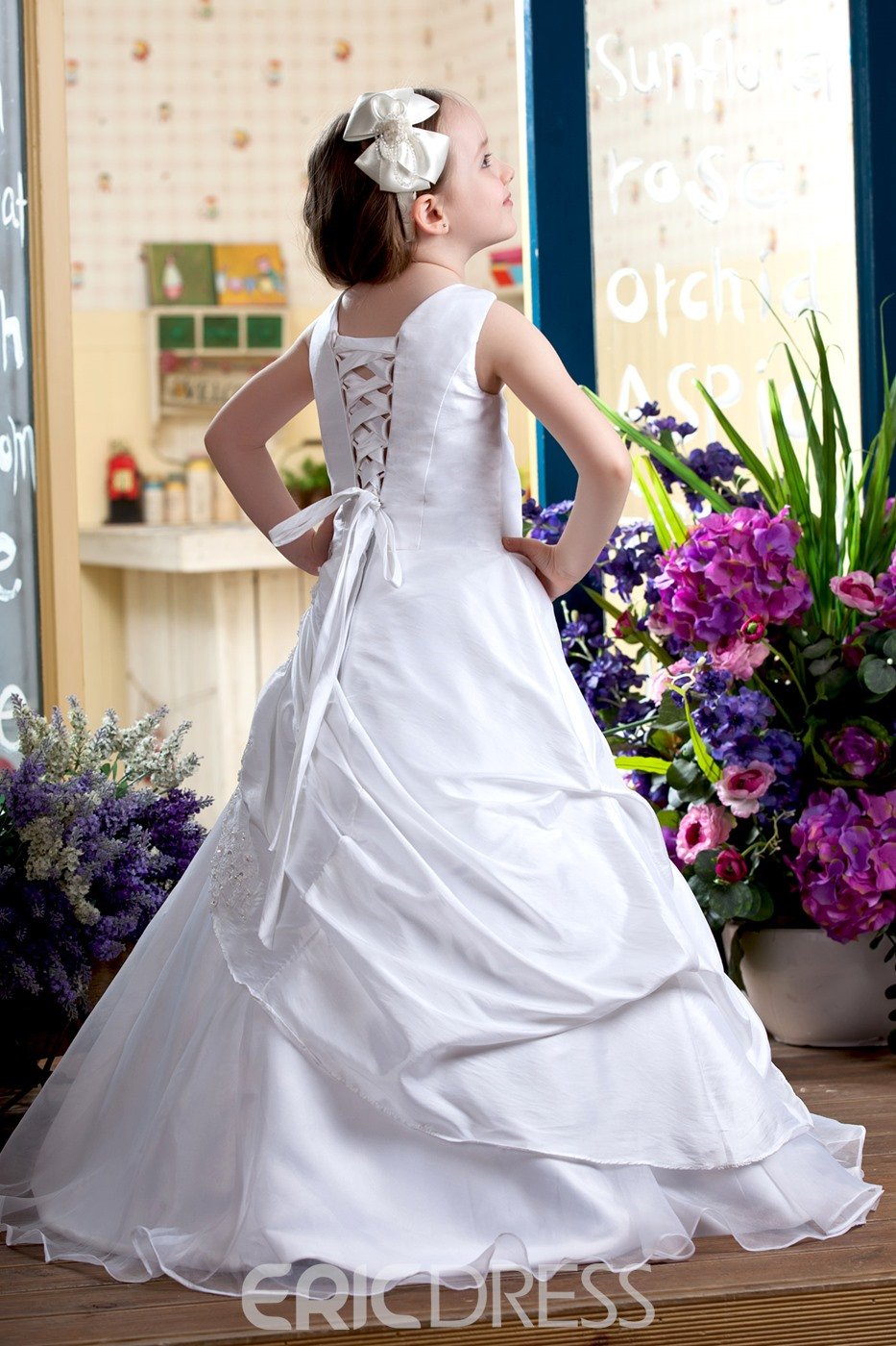 A-Line Round-neck Floor- Length Satin Flower Girls Dress