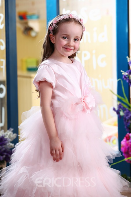 Concise A-Line Ankle-length Puff-Sleeve Tiered Flower Girl Dress