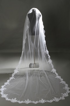 Ericdress Hot Sale Tulle Lace Edge Trim Long Bridal Veil