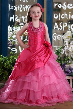 Concise Ball robe Halter parole longueur paillettes & fleur embellissement Flower Girl Dress