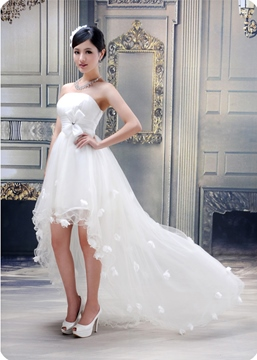Stunning Ball Gown Strapless Flowers High-low Wedding Dress