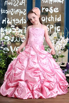 Fashion Ball Gown Floor-Length Spaghetti Straps Pleats Flower Girl Dress