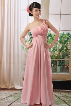 One-shoulder Neckline Sleeveless Floor Length Hemline Bridesmaid Dress