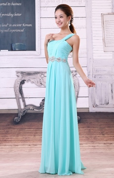 Beautiful A-Line Floor-Length Crystal One-Shoulder Bridesmaid Dress