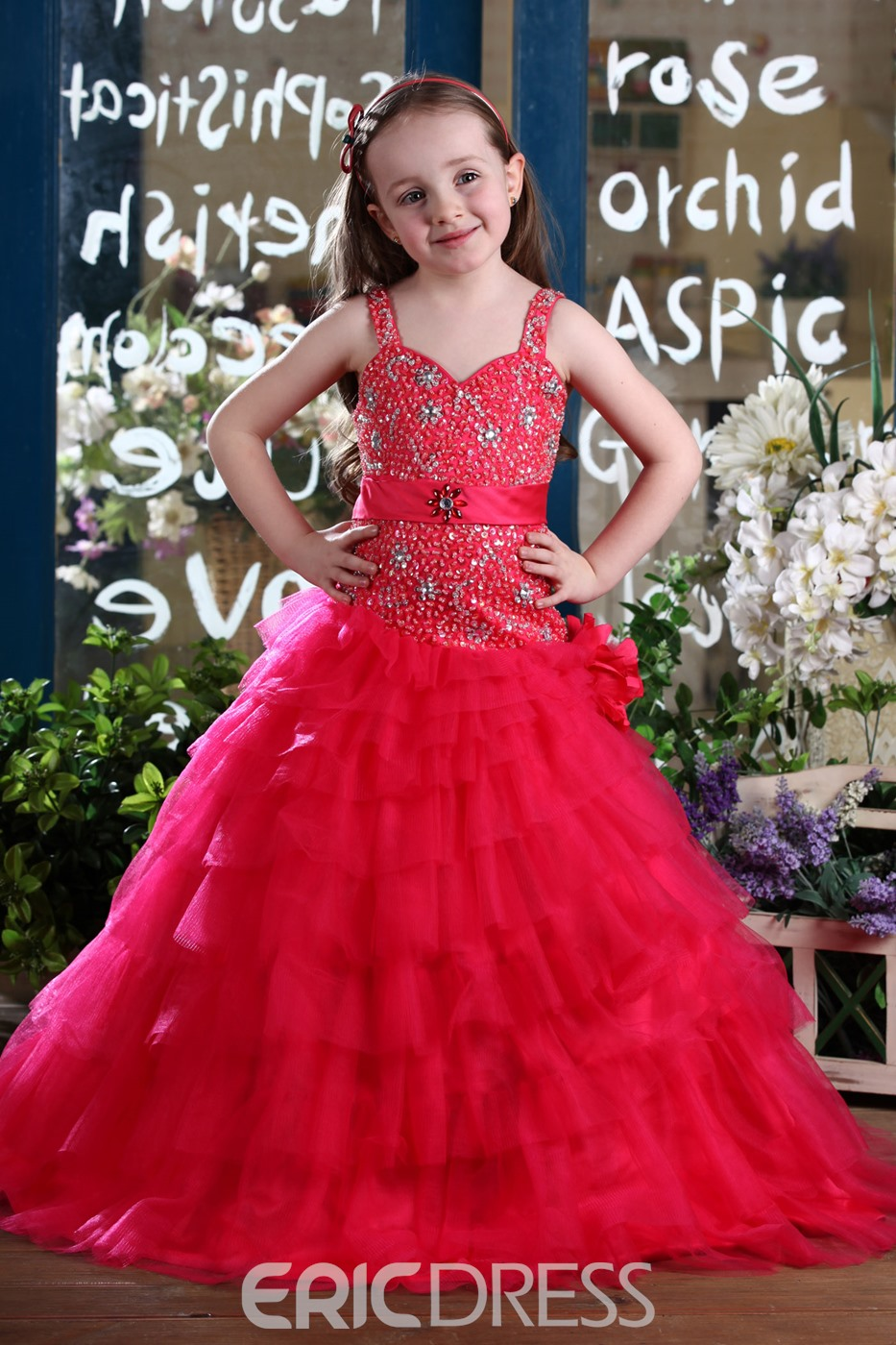 Fashion Ball Gown Straps Floor-Length Tiered Flower Girl Dress