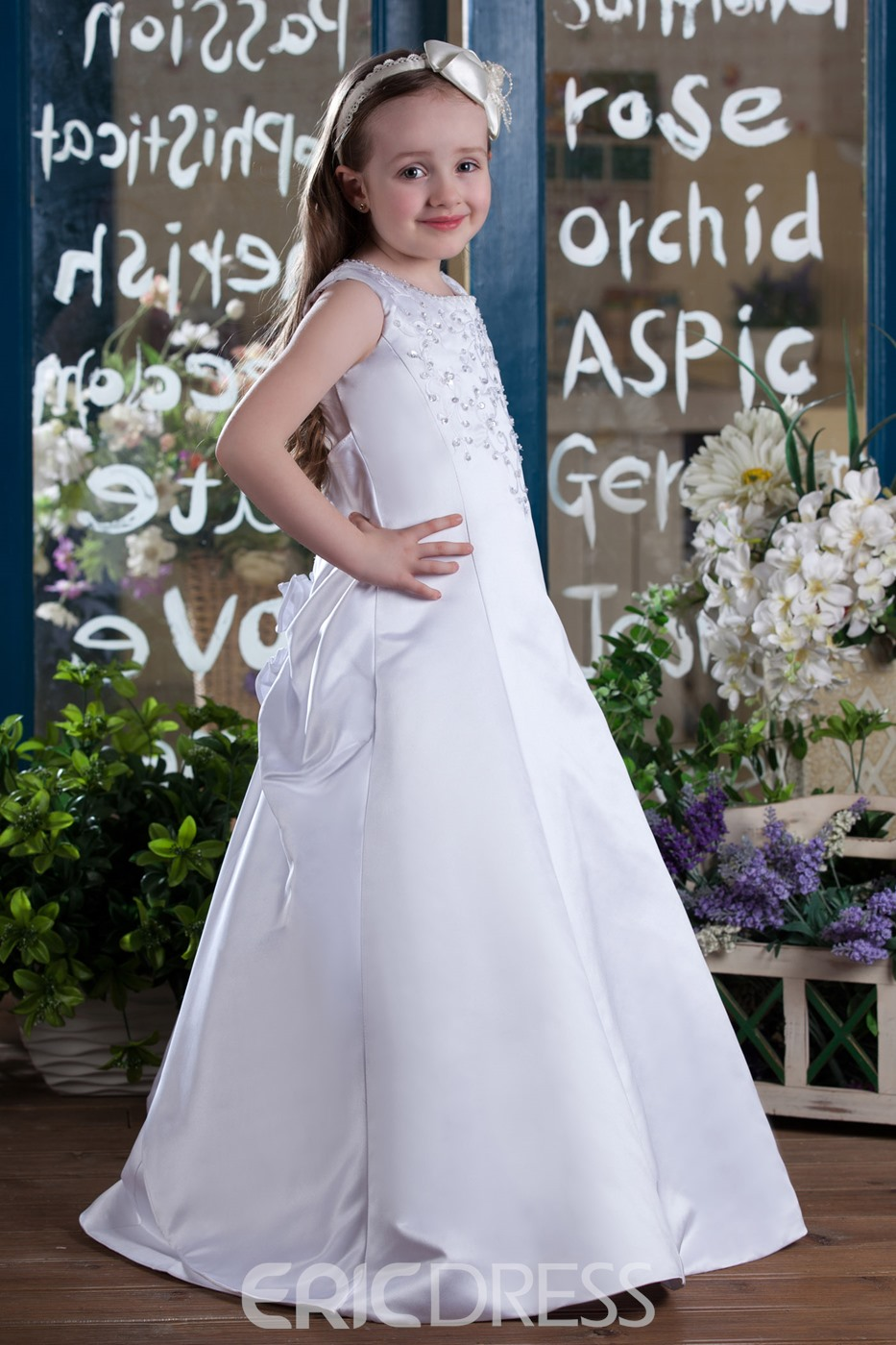 A-Line Jewel Floor Length Flower Girls Dress