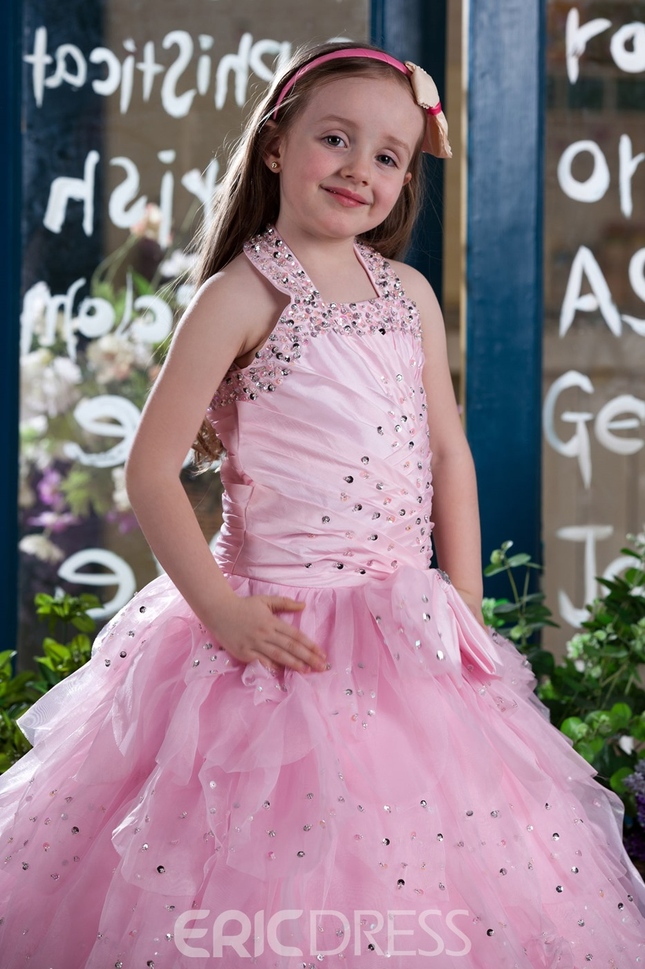 Pretty Ball Gown Halter Floor-length Tiered Flower Girl Dress