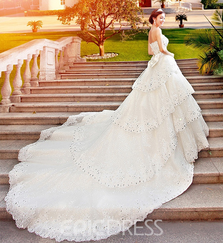 GLamorous A-Line Floor-Length Sweetheart Rhinestone Cathedral Train Wedding Dress