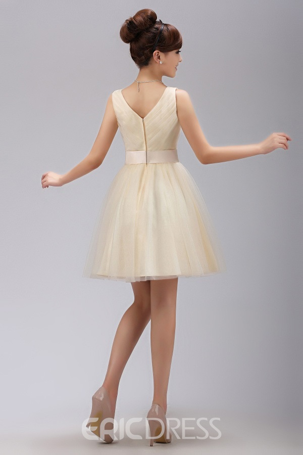 Sweet A-Line Mini-Length V Neck Bridesmaid Dress