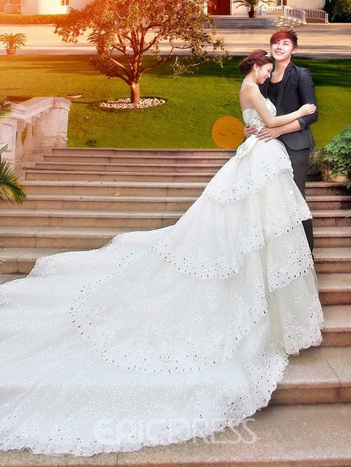 Ericdress Appliques Sequins Cathedral Train Wedding Dress