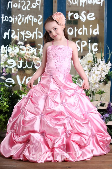Ericdress Ball Gown Embroidery Sequins Pick-Ups Flower Girl Dress