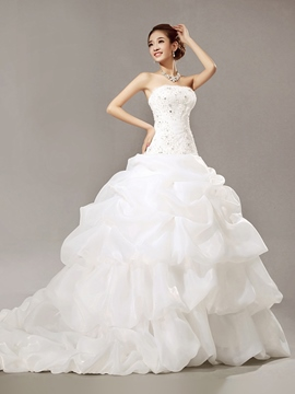 Elegant Strapless Beaded Ball Gown Wedding Dress