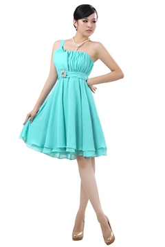 Lovely Crystal Floral Pin A-Line One Shoulder Knee-Lenght Bridesmaid Dress
