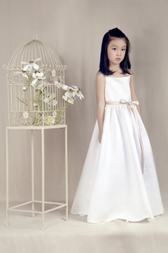 Cute A-line Spaghetti Straps Empire Sashes Long Flower Girl Dress
