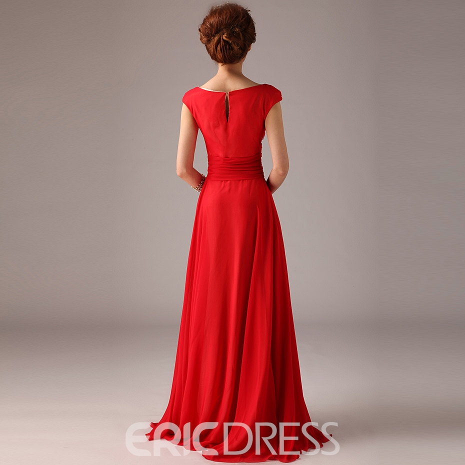 Style Princess Capped A-line Floor-length Prom Dress