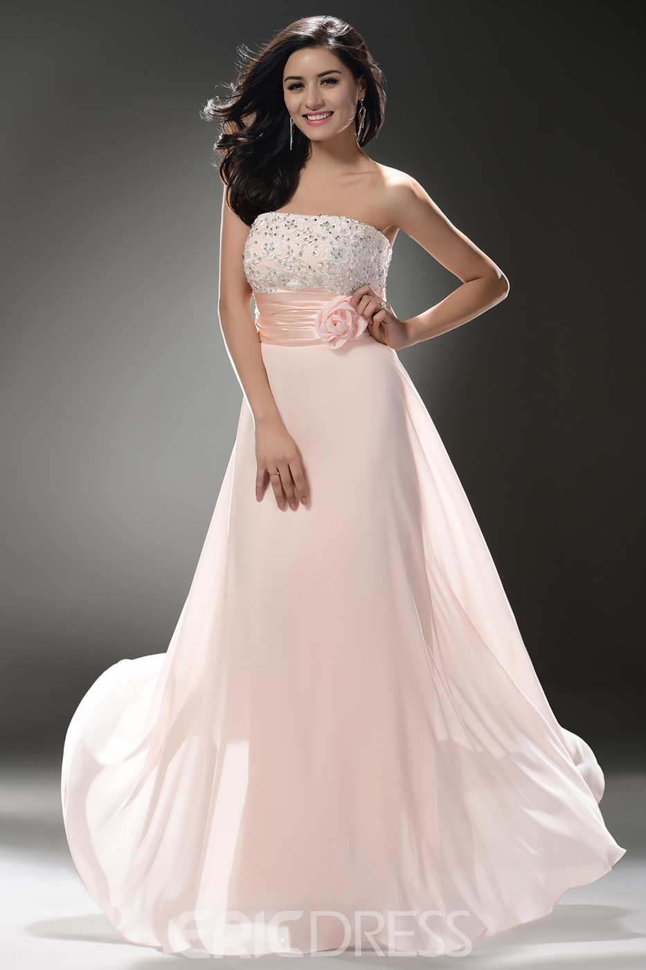 Strapless Beaded Empire Column Shape Floor Length Skirt with Hamdmade Flower Decoration Beautiful Prom Dress