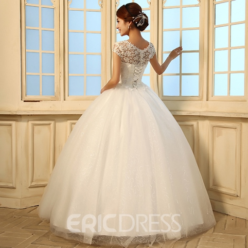 Ericdress Cap Sleeves Ball Gown Lace Wedding Dress