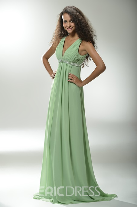 Graceful A-Line Floor-length V-Neck Prom/Evening Dress