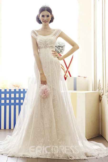 Capped Mermaid Empire Beads Lace Wedding Dress