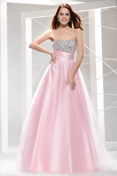 Super A-Line Floor-Length Strapless Prom Dress