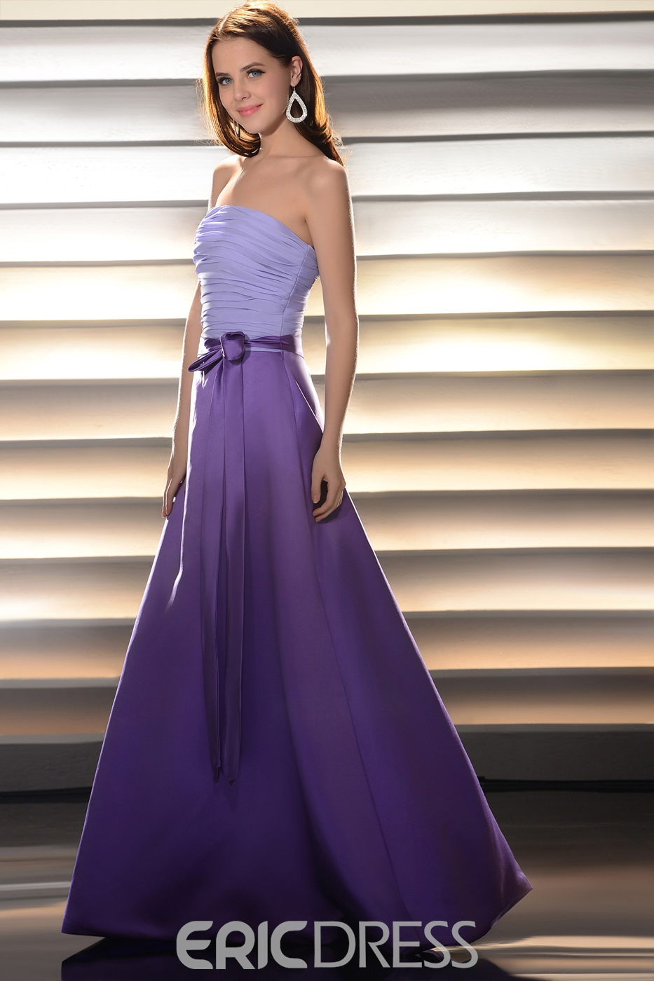 Pretty Ruched A-line Strapless Floor-length Bridesmaid Dress