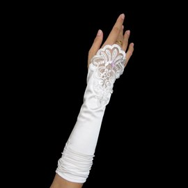 Elegant Fingerless Lace Flowers Wedding Bridal Glove
