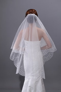 Shinning Elbow Tulle Single Layer Wedding Brail Veil