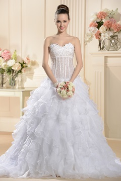 Fancy Sweetheart Sleeveless Wedding Dress