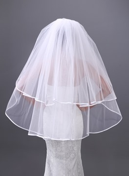 Luxurious Single-wire Yarn Two Layers Fingertip Wedding Veil