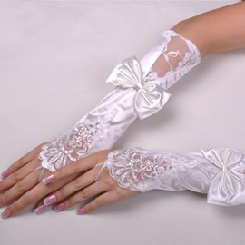 Finger Less Lace & Bowknot Bridal Gloves
