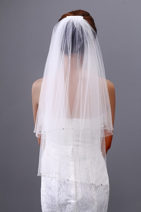 Shinning Crystal Single Yarn Two Layers Wedding Veil