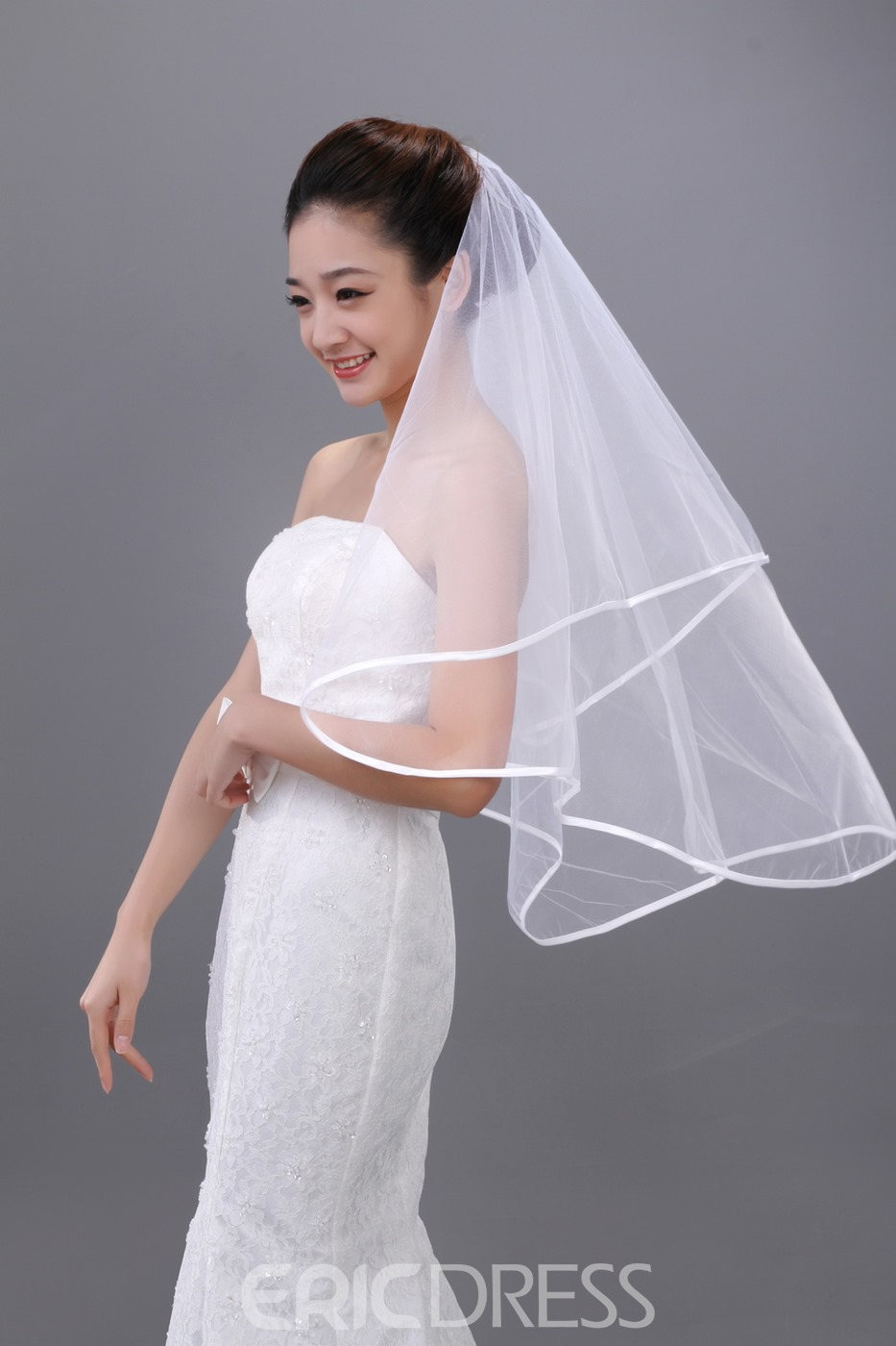 Elegant Elbow Bridal Veil with Satin Edge