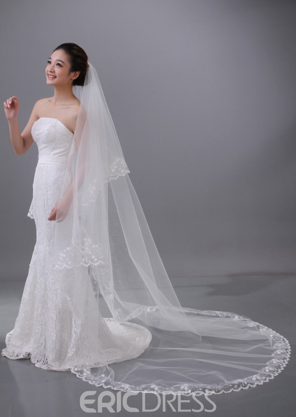 Brillant Chapel Bridal Veil with Lace Edge