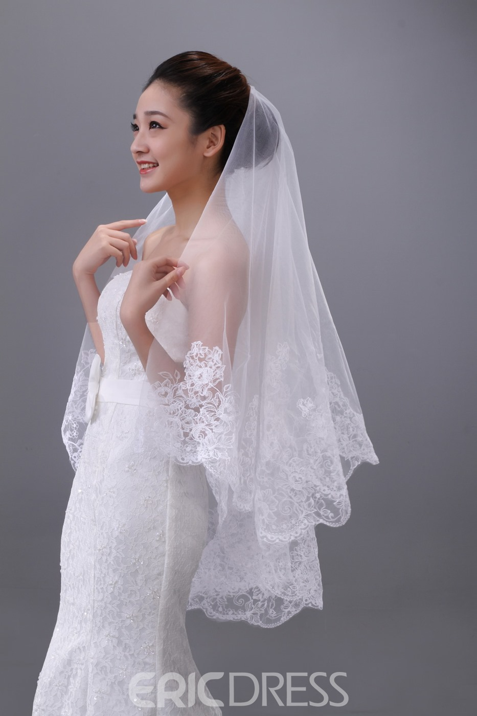 Tulle Lace Fingertip Wedding Veil