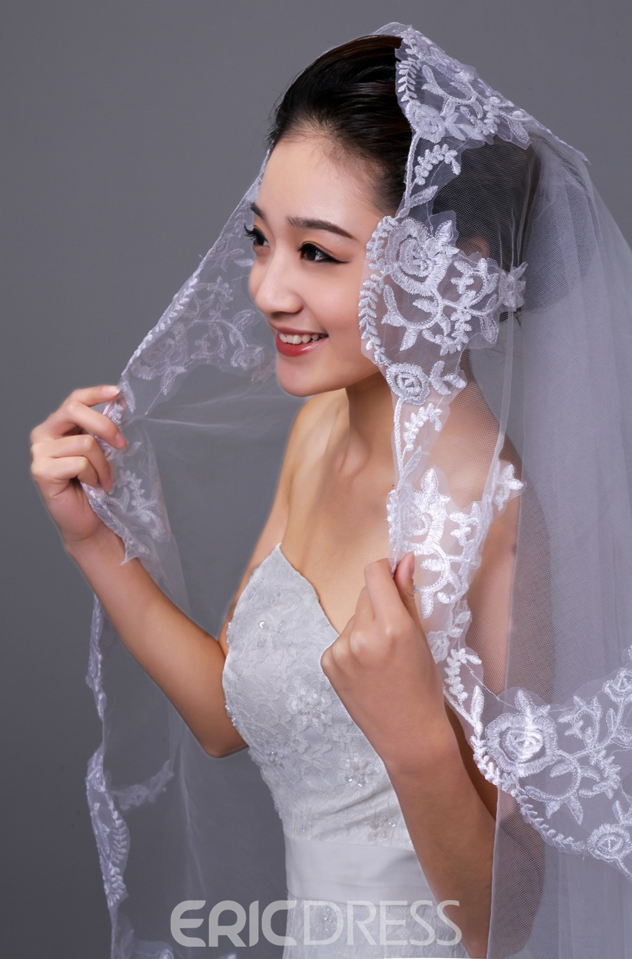 Gorgeous Cathedral Wedding Veil With Lace