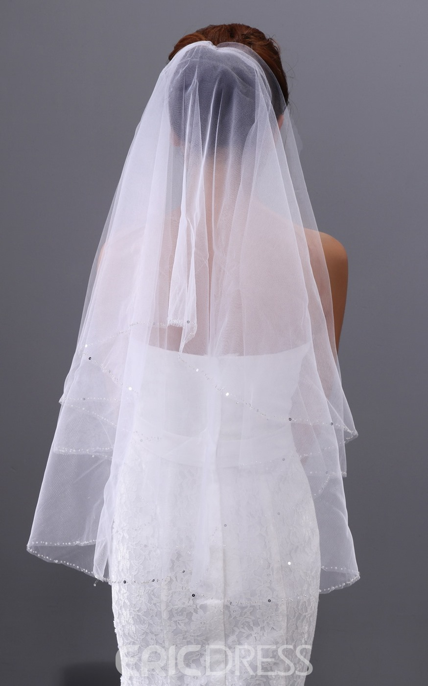 Simple Elbow Wedding Veil with Edge Sequins