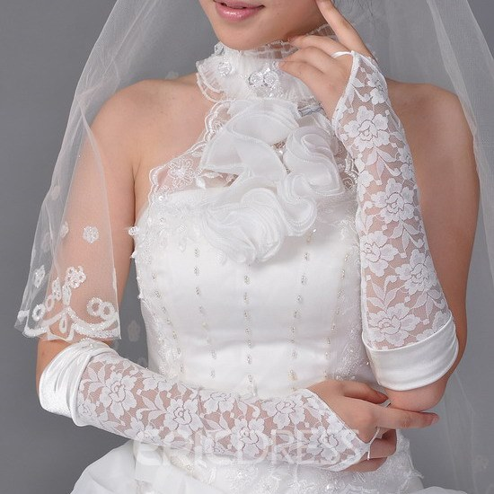 Transparent Lace Fingerless Wedding Bridal Glove