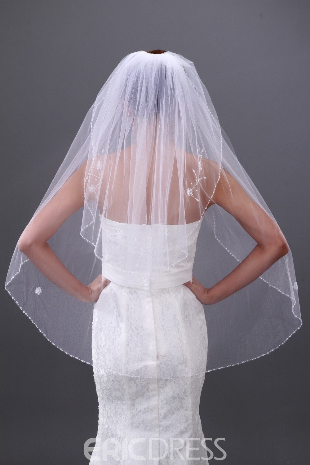 Elegant 2 layer Elbow Wedding Veil